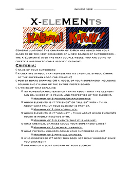 X-EleMENts Superhero Chemistry Project