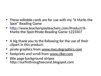 """""""X Marks the Spot"""" Editable Pirate Word Game Cards"""