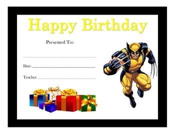 X-Men Birthday Certificates (Includes 6 Certificates)