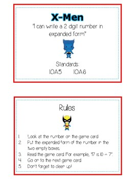 X-Men Expanded Form Math File Folder Game Place Value Tens & Ones