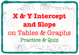 X & Y Intercept and Slope on Tables and Graphs (Practice & QUIZ - 3 Versions)