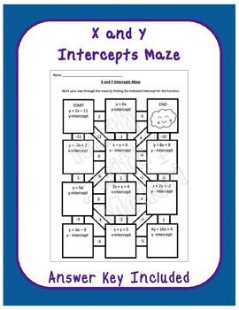 X and Y Intercepts Maze