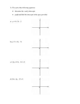 X and Y-Intercepts Of Graphs