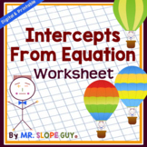 X and Y Intercepts from an Equation Worksheet