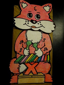 X is for Fox with a Xylophone paper bag puppet