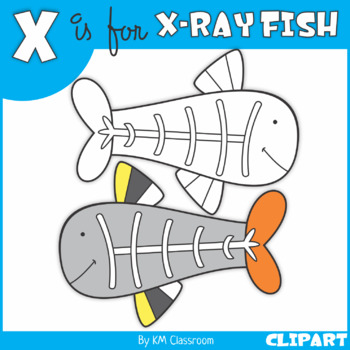 X is for X-Ray Fish Clip Art