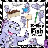 X-ray Fish Clip Art with Signs - Letter X in Alphabet Animal Series