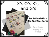 X's, O's,  K's, and G's- /K/ and /G/ Articulation Picture Tic-Tac-Toe