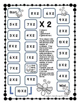 X2 Multiplication Basic Facts Games FREEBIE