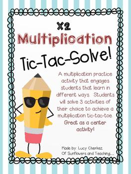 X2 Multiplication Tic-Tac-Solve - NO PREP center activity!