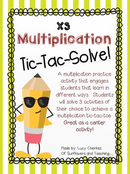 X3 Multiplication Tic-Tac-Solve - NO PREP center activity!