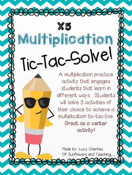 X5 Multiplication Tic-Tac-Solve - NO PREP center activity!