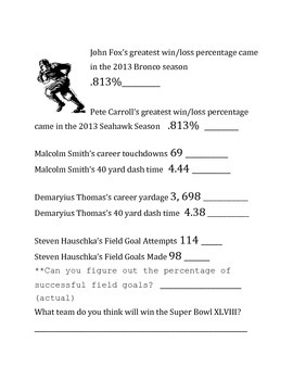 XLVIII Super Bowl Stats-Estimation/Rounding off