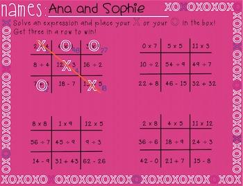 XO Tic Tac Toe Math Facts!