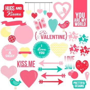 XOXO Trendy Valentine Clip Art