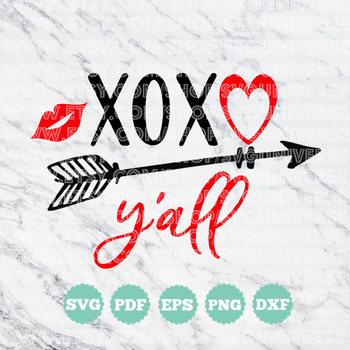 XOXO Y'all (Hugs & Kisses) | Love/Valentine SVG Vinyl Cutting Files