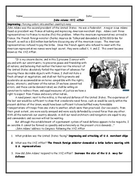 XYZ Affair Worksheet with Answer Key