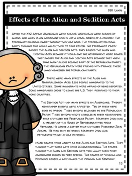 XYZ Affair and Alien and Sedition Acts Mini Unit