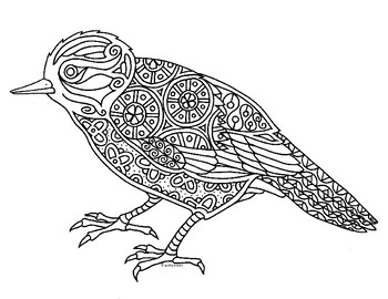 Xenops Bird Zentangle Coloring Page