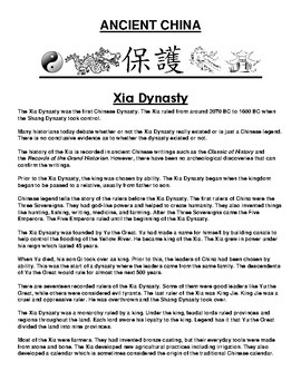 Xia Dynasty in ancient China Article and Assignment