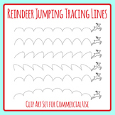 Xmas Jumping Reindeer Dotted or Dashed Tracing Lines for Pen Control Clip Art