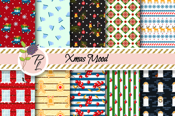Xmas Mood Patterns Seamless Pattern Set. Digital paper pack.