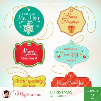 Xmas gift labels, tags, label frames, commercial use, vector graphics, clip art