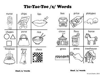 X's, O's,  S's, and Z's- /S/ and /Z/ Articulation Picture Tic-Tac-Toe