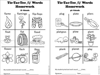 X's, O's and L's- /l/ Articulation Picture Tic-Tac Toe