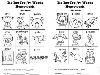 X's, O's and R's- /r/ Articulation Picture Tic-Tac Toe
