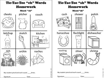 "X's and O's - ""Th"" ""Ch"" and ""Sh"" Articulation Picture Tic-Tac-Toe"