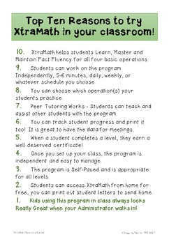 XtraMath Resource Packet Free