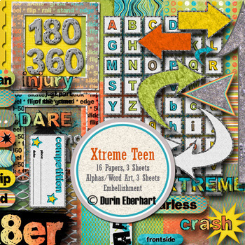 Xtreme Teen Printable Digital Paper, Embellishments and Alphas