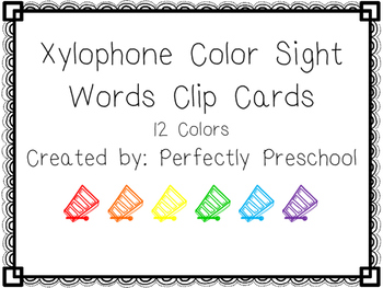 Xylophone Color Sight Word Clip Cards