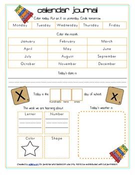 Xylphone Calendar/Circle Time Journal Sheet