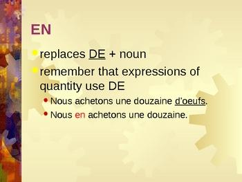 Pronoms compléments Y et EN French pronouns power point