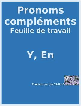Pronoms compléments Y et EN French pronouns worksheet 1