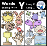 Y-Ending Sounds Phonics Bundle Clip Art - Whimsy Workshop Teaching