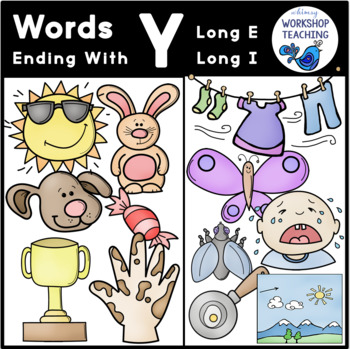 Y-Ending Sounds Phonics Bundle Clip Art - Whimsy Workshop Teaching