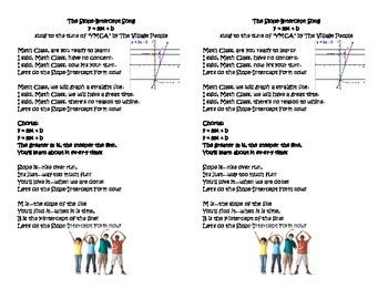 Y = MX + B Slope Intercept Form song printable
