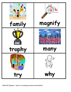 Y Sounds Like E or I Sorting Activity