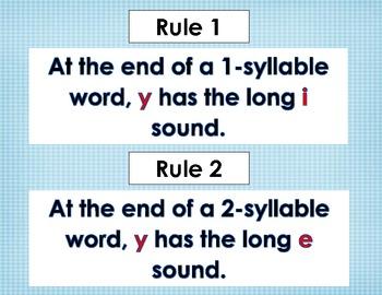 Y Sounds- Y sounds like i or Y sounds like e Literacy Word Work Center