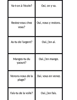 Y and EN (French pronouns) Concentration games
