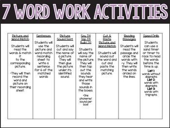 Y as I and E Word Work Activities