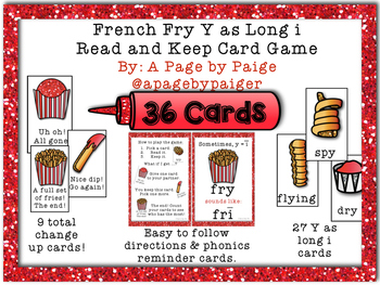 Long Vowel Card Game: Y as Long i Read and Keep Card Game