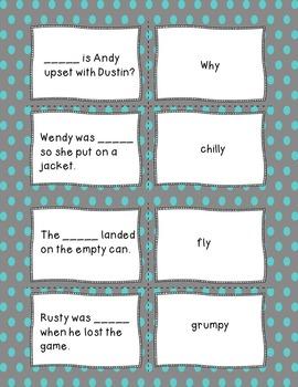 Y as a Vowel  Fill-in-the-Blank Memory Game & Bonus Story