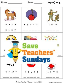 Y as a Vowel Lesson Plans, Worksheets and Other Teaching Resources (2 sets)