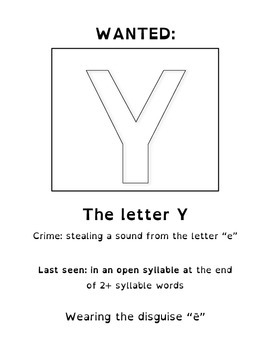 "Y as a Vowel ""Wanted"" Poster"