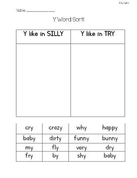 Y as a Vowel Word Sort