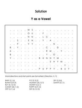 Y as a Vowel Worksheet/ Word Search